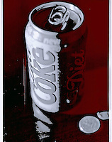 A colorized black and white image of a soda can and a quarter.  This was originally shot on Kodak T-Max 100 B&amp;W film.