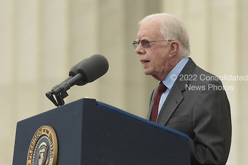 Former US President Jimmy Carter delivers remarks during the 'Let Freedom Ring' commemoration event, at the Lincoln Memorial in Washington DC, USA, 28 August 2013. The event was held to commemorate the 50th anniversary of the 28 August 1963 March on Washington led by the late Dr. Martin Luther King Jr., where he famously gave his 'I Have a Dream' speech.<br /> Credit: Michael Reynolds / Pool via CNP