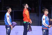 SHORTTRACK: DORDRECHT: Sportboulevard Dordrecht, 25-01-2015, ISU EK Shorttrack, Podium Men, Victor AN (RUS), Sjinkie KNEGT (NED), Semen ELISTRATOV (RUS), ©foto Martin de Jong