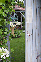 Secret garden door into lawn, gazebo, sundial, climbing ivy vine, agapanthus, access into private world, gaining admission to lovely backyard landscaping