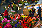 Marché du Vieux-Port in Quebec City has seasonal stalls for locals to purchase everything from home made cheese to flowers and fresh fish, Vieux Quebec, Quebec, Canada
