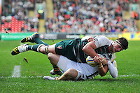 Mike Williams of Leicester Tigers is tackled to ground. Aviva Premiership match, between Leicester Tigers and Wasps on November 1, 2015 at Welford Road in Leicester, England. Photo by: Patrick Khachfe / Onside Images