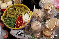 Tortillas, chiles, and salsa fro sale in the market in San Miguel de Allende, Mexico