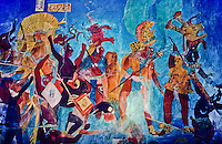 Painting of maya priests and warriors on the inside of a roof on top of a pyramid in mexico foto, reise, photograph, image, images, photo,<br /> photos, photography, picture, pictures, urlaub, viaje, vacation, imagen, viagi, stock