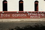 Anti Bush/American propaganda outside the Museum of the Revolution, Leon, Nicaragua