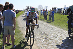 The peloton including Juraj Sagan (SVK) Bora-Hansgrohe on pave sector 17 Hornaing a Windignies during the 115th edition of the Paris-Roubaix 2017 race running 257km Compiegne to Roubaix, France. 9th April 2017.<br /> Picture: Eoin Clarke | Cyclefile<br /> <br /> <br /> All photos usage must carry mandatory copyright credit (&copy; Cyclefile | Eoin Clarke)