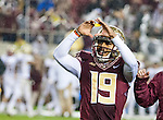 Commissioned by the Associated Press<br /> <br /> Florida State kicker Roberto Aguayo celebrates after kicking the game winning field goal with 3 seconds left in the second half of an NCAA college football game in Tallahassee, Fla., Saturday, Nov. 22, 2014. (AP Photo/Mark Wallheiser)