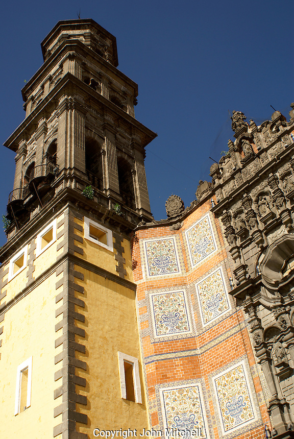 Talavera tiles facade of Templo San Francisco church in the city of Puebla, Mexico