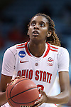 21 March 2015: Ohio State's Alexa Hart. The Ohio State University Buckeyes played the James Madison University Dukes at Carmichael Arena in Chapel Hill, North Carolina in a 2014-15 NCAA Division I Women's Basketball Tournament first round game.