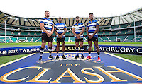 """Dave Attwood, Guy Mercer, Jonathan Joseph and Anthony Watson of Bath Rugby. Bath Rugby Photocall for """"The Clash"""" on September 22, 2016 at Twickenham Stadium in London, England. Photo by: Andrew Fosker / Onside Images"""