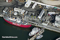 aerial photograph of Port of Oakland CA lightship relief Oakland police boat, Matson containers docked vessels