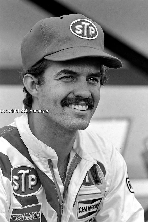 DAYTONA BEACH, FL - FEBRUARY 14: Kyle Petty pauses in the pit lane after qualifying his Petty Enterprises Pontiac for the Daytona 500 NASCAR Winston Cup race at the Daytona International Speedway in Daytona Beach, Florida, on February 14, 1982.