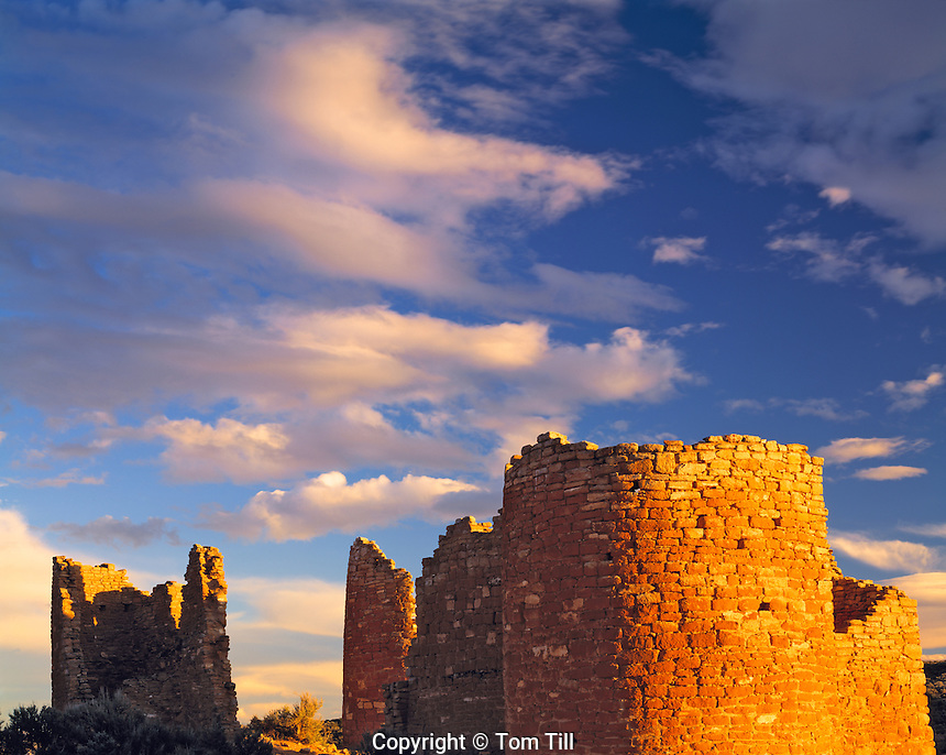 Hovenweep Castle at Sunset, Anasazi Indian ruins, Hovenweep National Monument, Utah