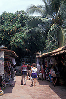 Tourists shopping fro Mexican handicarfts on Isla Cuale in Puerto Vallarta, Jalisco, Mexico