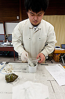 Shuhei Suzuki prepares a food sample at the Becquerel Centre in a farmers' market in Miharu, where locally grown food is tested for nuclear contamination. Miharu, Fukushima, Japan. Friday May 4th 2012