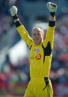 26 March 2011: Toronto FC goalkeeper Stefan Frei #24 celebrates the second goal during an MLS game between the Portland Timbers and the Toronto FC at BMO Field in Toronto, Ontario Canada..Toronto FC won 2-0....