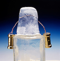 WEIGHTED WIRE CUTS THROUGH BLOCK OF ICE (2 of 4)<br /> Regelation of Ice<br /> The pressure exerted on the ice by the weighted wire lowers the melting point of ice causing it to liquefy under the wire.  As the wire passes thru, the ice refreezes behind it.  Wire is 1/3 thru the ice.
