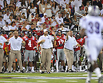 The Ole Miss bench at Vaught-Hemingway Stadium in Oxford, Miss. on Saturday, September 1, 2012. (AP Photo/Oxford Eagle, Bruce Newman)..