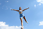 24 September 2016: UNC cheerleader. The University of North Carolina Tar Heels hosted the University of Pittsburgh Panthers at Kenan Memorial Stadium in Chapel Hill, North Carolina in a 2016 NCAA Division I College Football game.