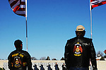 CHAD PILSTER &bull;&nbsp;Hays Daily News<br /> <br /> Hays VFW Post 9076 perform a 21 gun salute as the American Legion Riders from Post 173 watch on Saturday, December 14, 2013 during the Wreaths Across America event at the Kansas Veterans' Cemetery in WaKeeney, Kansas. Wreaths were donated to put on all of the graves at the cemetery. This is the 22nd anniversary of the Worcester Wreath Company donating Maine wreaths to the Nation's veterans at Arlington National Cemetery.