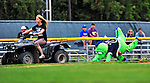 21 August 2010: Vermont Lake Monsters' Mascot Champ takes a tumble as he is pulled by an ATV prior to game action against the Brooklyn Cyclones at Centennial Field in Burlington, Vermont. The Cyclones defeated the Lake Monsters 8-7 in a 12-inning game that had to be resumed in Brooklyn on August 31 due to late inning rain. Mandatory Credit: Ed Wolfstein Photo