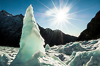 Solitary ice pinnacle on Franz Josef Glacier, Westland National Park, West Coast, New Zealand