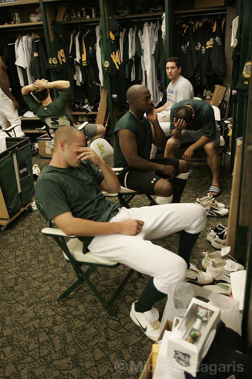 OAKLAND, CA - OCTOBER 2:  Bobby Crosby of the Oakland Athletics reacts after losing the MLB game against the Anaheim Angels at Network Associates Coliseum on October 2, 2004 in Oakland, California. The Angels defeated the A's 3-2. (Photo by Michael Zagaris/MLB Photos via Getty Images)