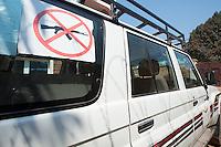 Africa, DRC, Democratic Republic of the Congo, Bukavu, South Kivu. Women for Women project. WFW vehicle, no guns sticker.