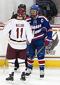 Pat Mullane (BC - 11), Riley Wetmore (UML - 16) - The University of Massachusetts Lowell River Hawks defeated the Boston College Eagles 4-2 (EN) on Tuesday, February 26, 2013, at Kelley Rink in Conte Forum in Chestnut Hill, Massachusetts.
