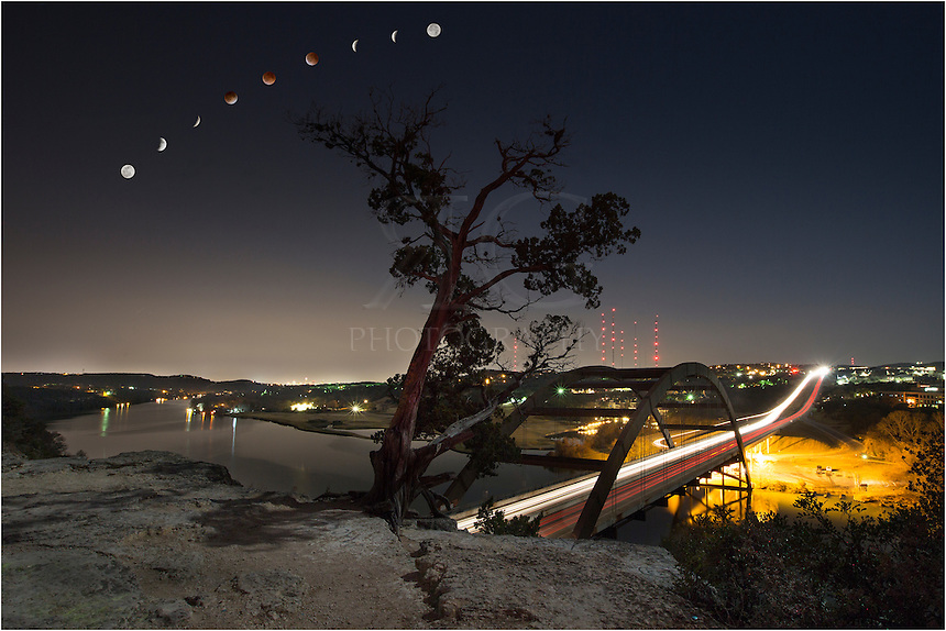 In the early morning hours of April 15, 2014, the eath passed between the sun and moon, resulting in a lunar eclipse. This is the vantage point of the lunar eclipse looking south from the 360 Bridge to downtown Austin. This image is a time lapse over the course of 3.5 hours.<br />