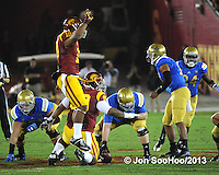 USC Trojans during game against the UCLA Bruins Saturday, November 30, 2013 at the Los Angeles Memorial Coliseum in Los Angeles,California. The Bruins beat the Trojans 35-14. Photo by ©Jon SooHoo,2013
