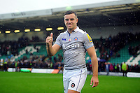 George Ford of Bath Rugby is all smiles after the match. Aviva Premiership match, between Northampton Saints and Bath Rugby on September 3, 2016 at Franklin's Gardens in Northampton, England. Photo by: Patrick Khachfe / Onside Images