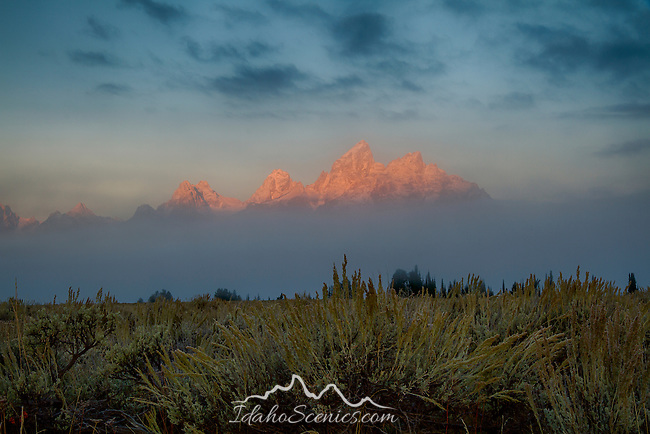 Wyoming, GTNP, First light on the Snow capped Teton Range in autumn.