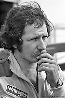 DAYTONA BEACH, FL - FEBRUARY 15: Dale Earnhardt in the garage area before practice for the Daytona 500 on February 15, 1981, at the Daytona International Speedway in Daytona Beach, Florida.