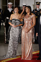 First Lady Michelle Obama and Mrs. Agnese Landini look on at the North Portico  of the White House on October 18, 2016 in Washington, DC. <br /> Credit: Olivier Douliery / Pool via CNP / MediaPunch