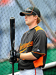 19 June 2011: Baltimore Orioles' infielder Blake Davis awaits his turn in the batting cage prior to a game against the Washington Nationals at Nationals Park in Washington, District of Columbia. The Orioles defeated the Nationals 7-4 in inter-league play, ending Washington's 8-game winning streak. Mandatory Credit: Ed Wolfstein Photo