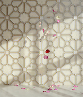 Jardin, a handmade mosaic shown in honed Bianco Antico, polished Calacatta and Raw Fiber glass. Designed by Sara Baldwin Designs for New Ravenna.<br />