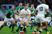 Owen Farrell of England passes the ball. RBS Six Nations match between England and Ireland on February 27, 2016 at Twickenham Stadium in London, England. Photo by: Patrick Khachfe / Onside Images