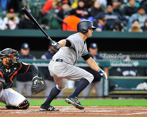 New York Yankees left fielder Brett Gardner (11) singles in the first inning against the Baltimore Orioles at Oriole Park at Camden Yards in Baltimore, MD on Friday, April 7, 2017.<br /> Credit: Ron Sachs / CNP<br /> (RESTRICTION: NO New York or New Jersey Newspapers or newspapers within a 75 mile radius of New York City)