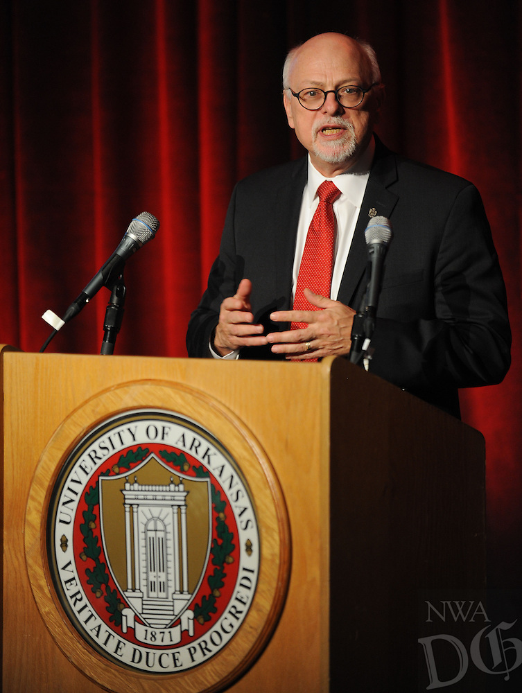 NWA Democrat-Gazette/ANDY SHUPE<br /> Joe Steinmetz, University of Arkansas chancellor, speaks Friday, Feb. 19, 2016, during a banquet at the The David and Barbara Pryor Center for Arkansas Oral and Visual History in Fayetteville.