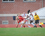 Oxford High's Sarah Nash (19) and Oxford High's Frieda Salau (12) vs. Lafayette High's Alley Houghton (3) in girls high school soccer in Oxford, Miss. on Saturday, December 8, 2012. Oxford won 1-0.