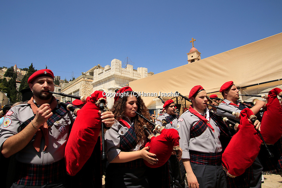 Israel, Nazareth, the Greek Orthodox Annunciation Day procession at the Church of the Annunciation, the Church of St. Gabriel