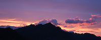 Sunset behind Justadtind mountain peak, Stamsund, Vestvagoy, Lofoten islands, Norway