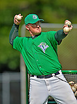 19 July 2012: Vermont Lake Monsters hitting coach Casey Myers throws batting practice prior to a game against the Tri-City ValleyCats at Centennial Field in Burlington, Vermont. The ValleyCats defeated the Lake Monsters 6-3 in NY Penn League action. Mandatory Credit: Ed Wolfstein Photo