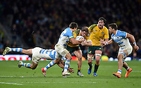 Michael Hooper of Australia takes on the Argentina defence. Rugby World Cup Semi Final between Argentina v Australia on October 25, 2015 at Twickenham Stadium in London, England. Photo by: Patrick Khachfe / Onside Images