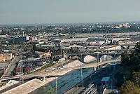Los Angeles, CA, River Bridge, Metro, Train,  Speeding Elevated Bridge