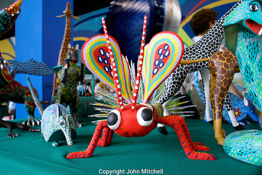 Alebrije dragonfly and other wooden animals from the state of Oaxaca, Mexico