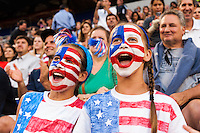 United States (USA) fans. The women's national team of the United States defeated the Korea Republic 5-0 during an international friendly at Red Bull Arena in Harrison, NJ, on June 20, 2013.