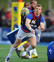 Jonathan Evans of Bath Rugby passes the ball during the pre-match warm-up. Aviva Premiership match, between Saracens and Bath Rugby on January 30, 2016 at Allianz Park in London, England. Photo by: Patrick Khachfe / Onside Images