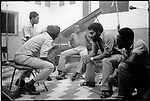Burning Spear, reggae artist (left, sitting on stool, back to camera), recording at Randy's studio with his musicians. Ocho Rios, Jamaica, March 1976...1976 © David BURNETT (CONTACT PRESS IMAGES)